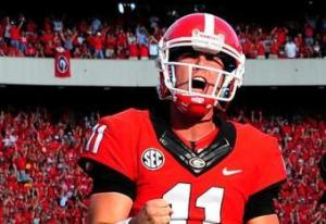 Aaron Murray celebrates Georgia's win over LSU.