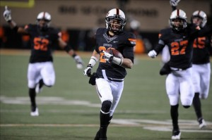 Tyler Patmon recovered a fumble and raced 78 yards for a touchdown against Oklahoma State.