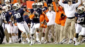 Chris Davis returns a missed field goal 109 yards to give Auburn and improbably victory over Alabama.