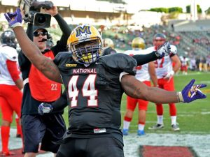 Former LSU fullback J.C. Copeland was an man among boys at the NFLPA Collegiate Bowl. He rushed for two touchdowns and was named the game MVP.