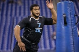 Aaron Donald looked very good at the NFL Combine. He is likely the first defensive tackle taken in this year's NFL draft.