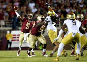 Jameis Winston guided his team to their 23rd straight win, this time beating Notre Dame 31-27.