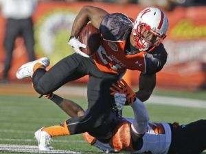 Nebraska running back Ameer Abdullah led his team in rushing and receiving and was voted the MVP of the 2015 Senior Bowl.