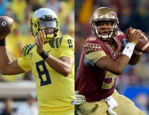 The last two Heisman winners, Marcus Mariota and Jameis Winston squared off in the first college football semi-final game. Mariota led his team to a 59-20 rout of the Seminoles.