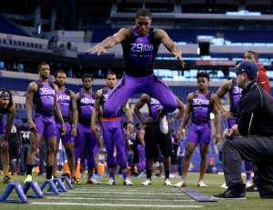 "UConn corner Byron Jones set an NFL Combine record by broad jumping 12' 3"" on Monday."