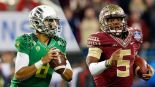 Who will be the first QB taken? Will it be Oregon's Marcus Mariota or will it be Florida State's Jameis Winston?